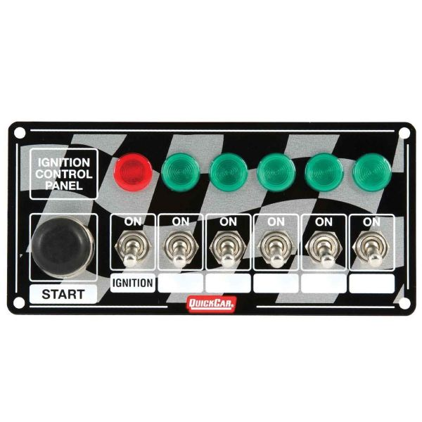 Switch Panel, Dash Mount, 6-7/8 x 3-1/4 in, 6 Toggles / 1 Momentary Button, Indicator Light
